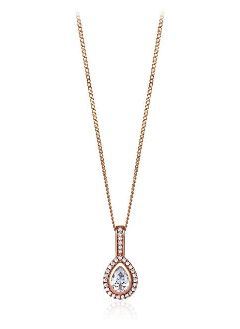 Tophills Diamond Co. 1,10 Ct Pırlanta Efekt Altın Damla Entourage Roz Kolye  Renkli